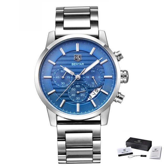 Mens Chronograph Sports Watch - Steel Blue B - Leather Watches