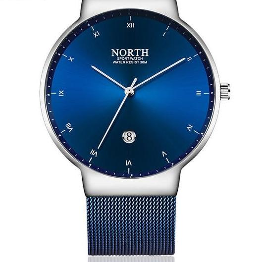 Mens Quartz Mesh Band Watch - Blue - Watches
