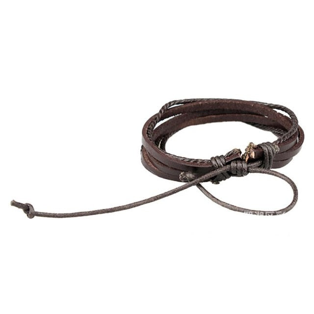 Leather Rope Bracelets - Brown - Bracelets