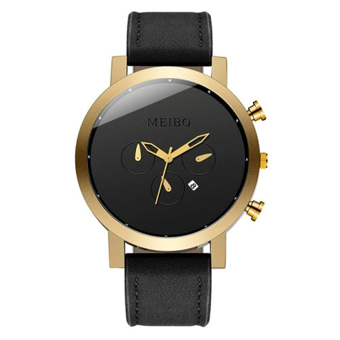 Simple Watch With Date - Gold - Leather Watches