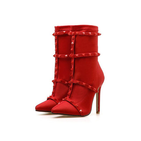 Rivet Women Boots Mid Calf Boots Red Black