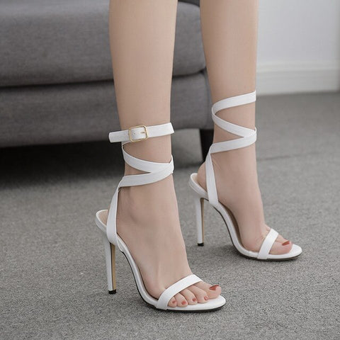 Sandals High Heels Open Toe Buckle Ankle Strap