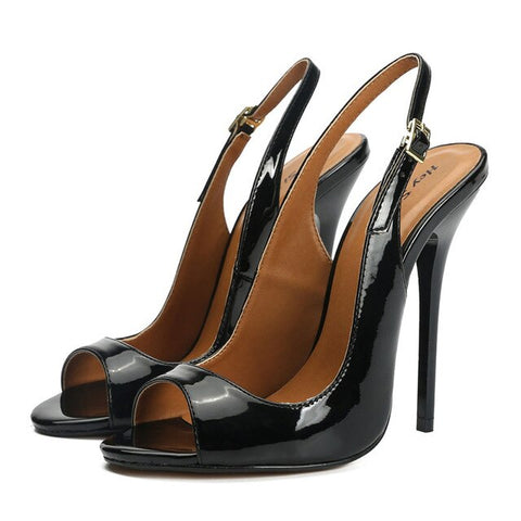 Black Narrow Band PU Leather High Heels Sandals
