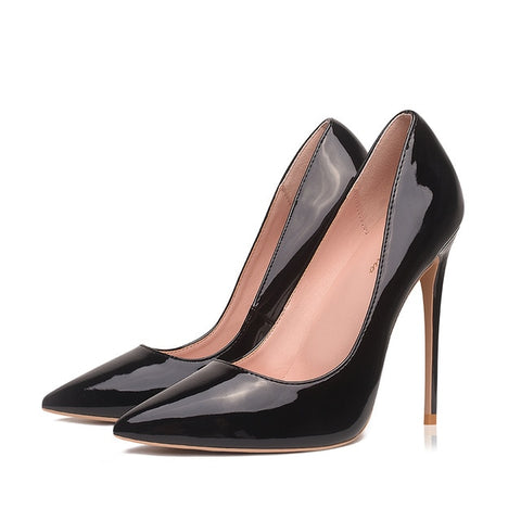 Pumps Brand High Heels Black Patent Leather