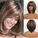 Short Wavy Bob Synthetic Wigs Bangs