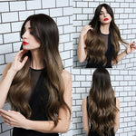 Dark Brown to Ash Grey Wavy Wig