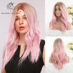 Dark Root Ombre Pink Wig with Bangs