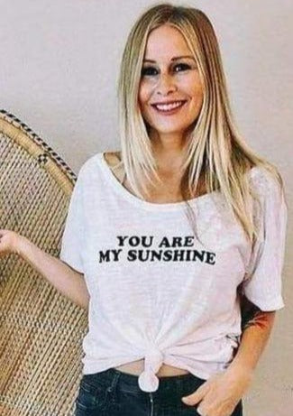 You Are My Sunshine - Off the Shoulder-Graphic Tee-MamaBirdAndCo-Shop The Dapper Squirrel Boutique for Women