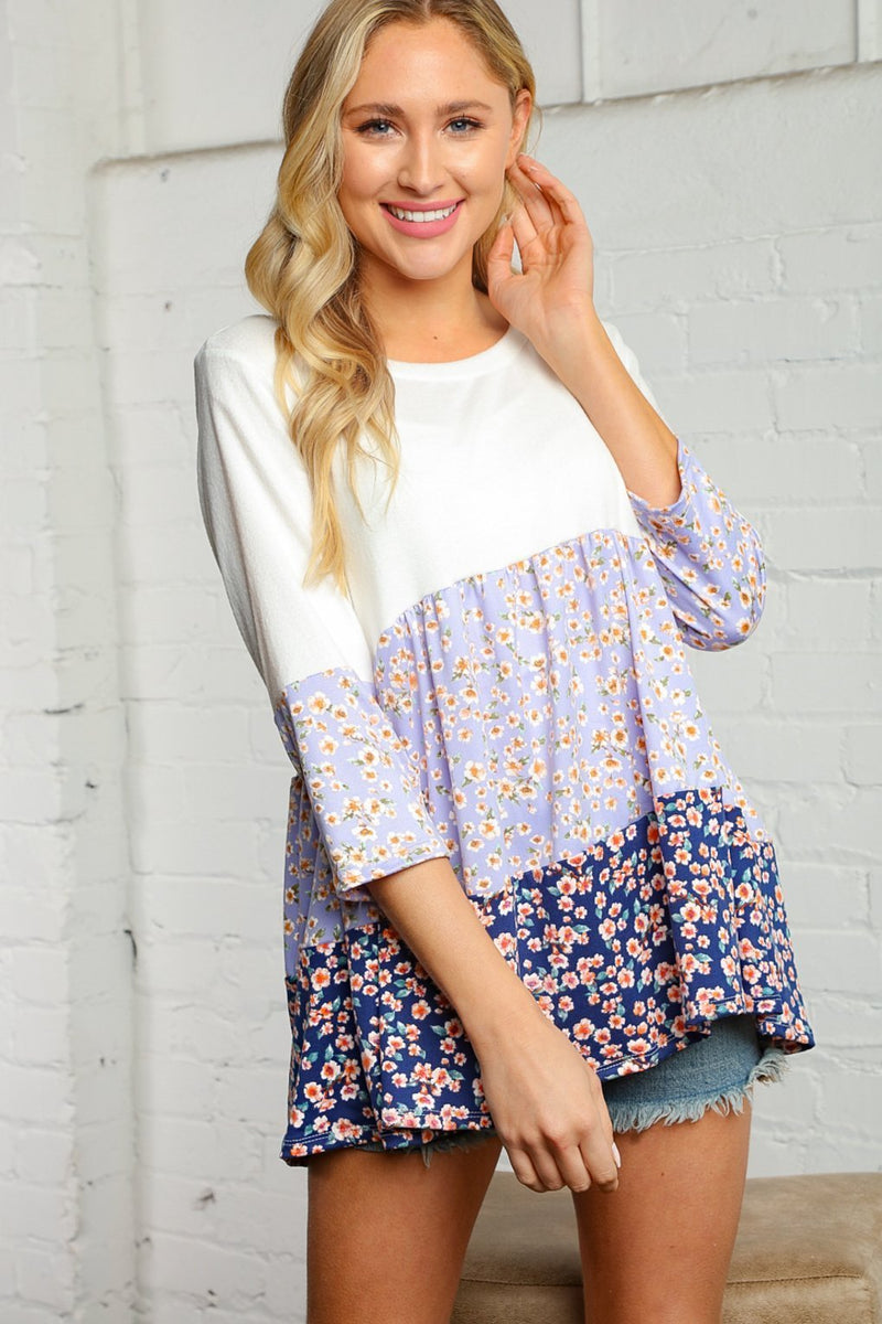 Cream and Lavender Floral Tiered Tunic