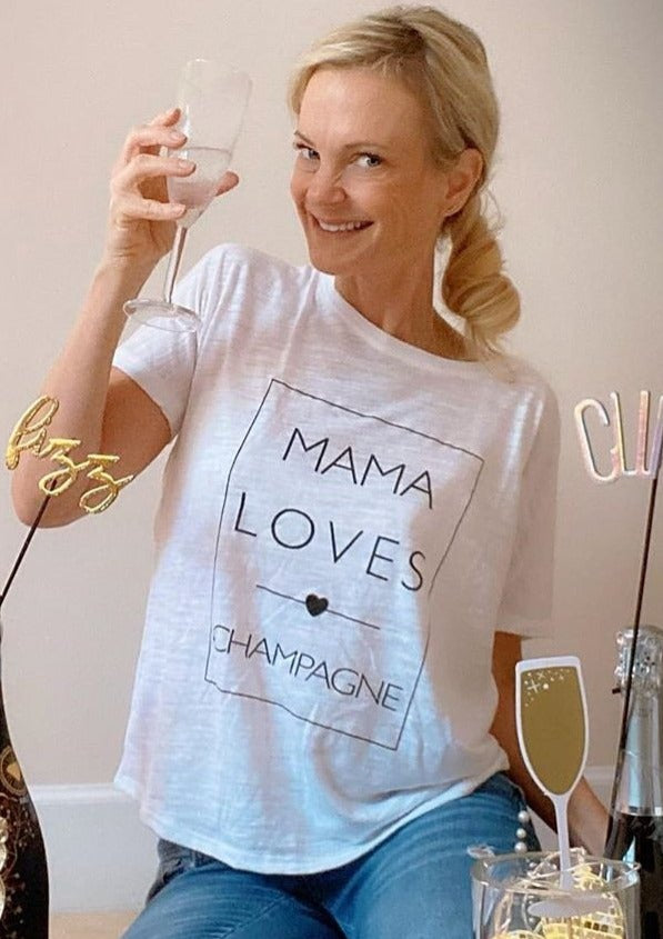 Mama Loves Champagne - Several Styles-Graphic Tee-mamabirdandco-Shop The Dapper Squirrel Boutique for Women