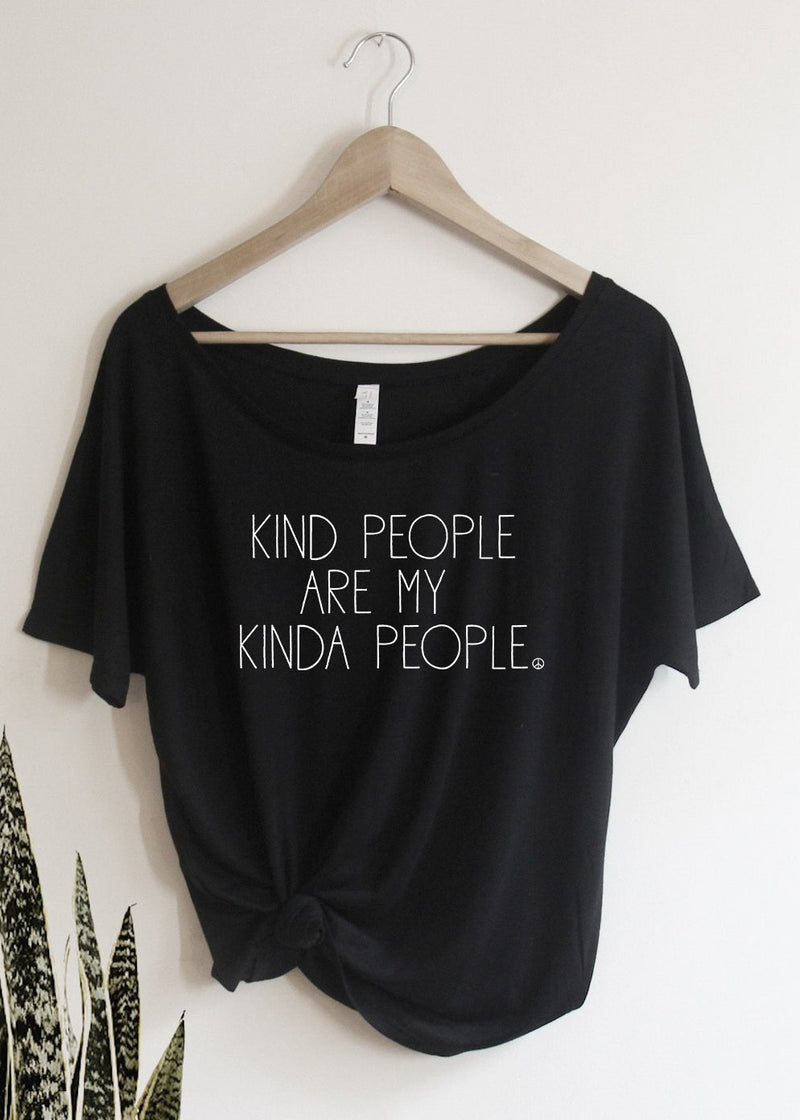 Kind People Are My Kinda People - Off the Shoulder-Graphic Tee-MamaBirdAndCo-Shop The Dapper Squirrel Boutique for Women