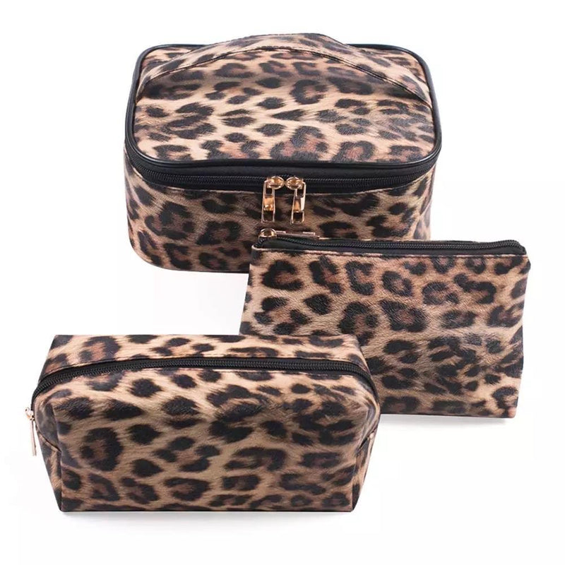 Leopard Cosmetic Set- 3 total pieces