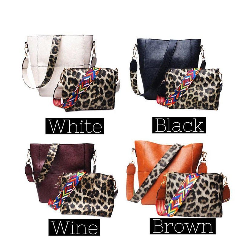 Leona Leopard Tote Set-Handbags-Beauty Stash-Shop The Dapper Squirrel Boutique for Women