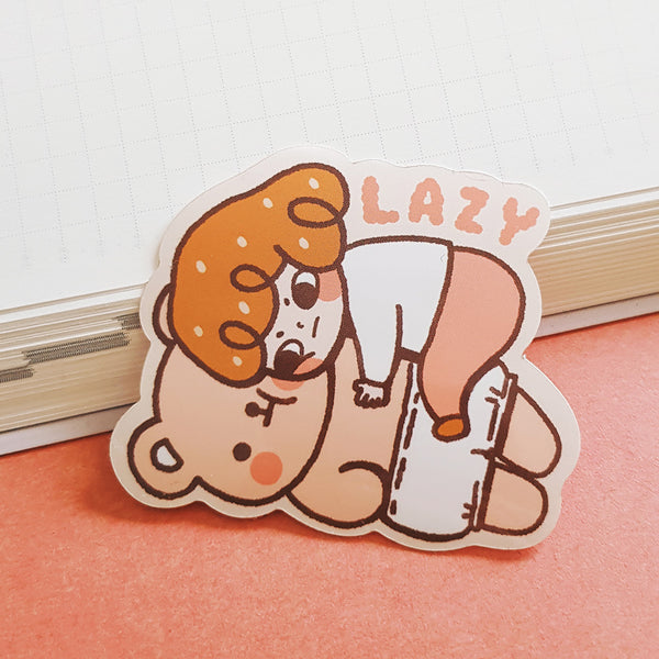 Lazy Bear Vinyl/Mirror Sticker