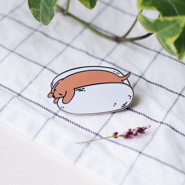 Napping Dog (Hot Dog) Hard Enamel Pin