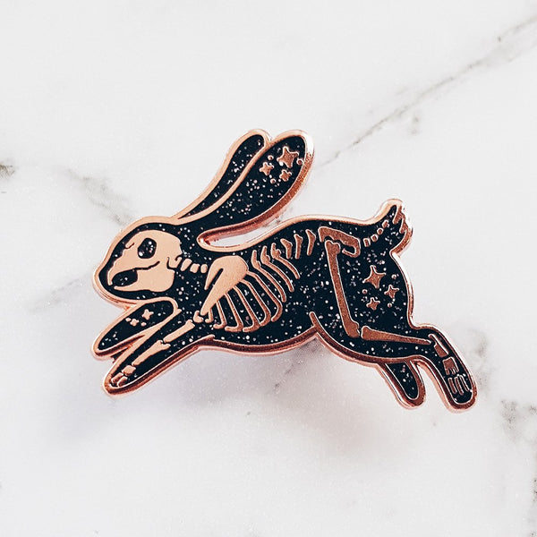 Black Skeleton Rabbit Hard Enamel Pin (Glitter)