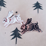 White Skeleton Rabbit Hard Enamel Pin (Glitter)