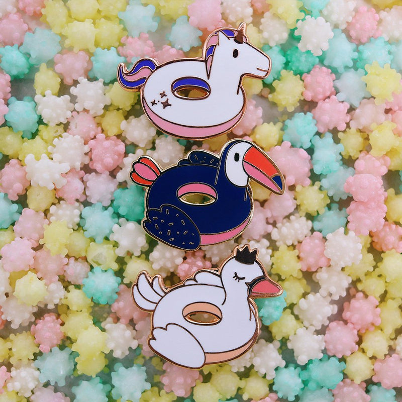 Swan Floatie Pool Party Hard Enamel Pin