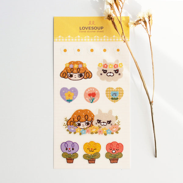 Floral Deco Sticker Sheet (clear & glitter)