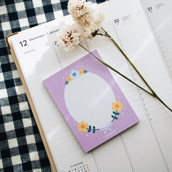 Floral Memo Pad - Purple