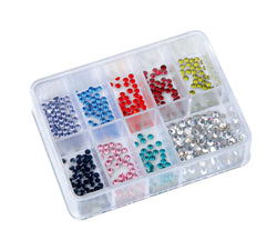 LCN Rhinestone Box, 9 Asstd Colours, 100pcs