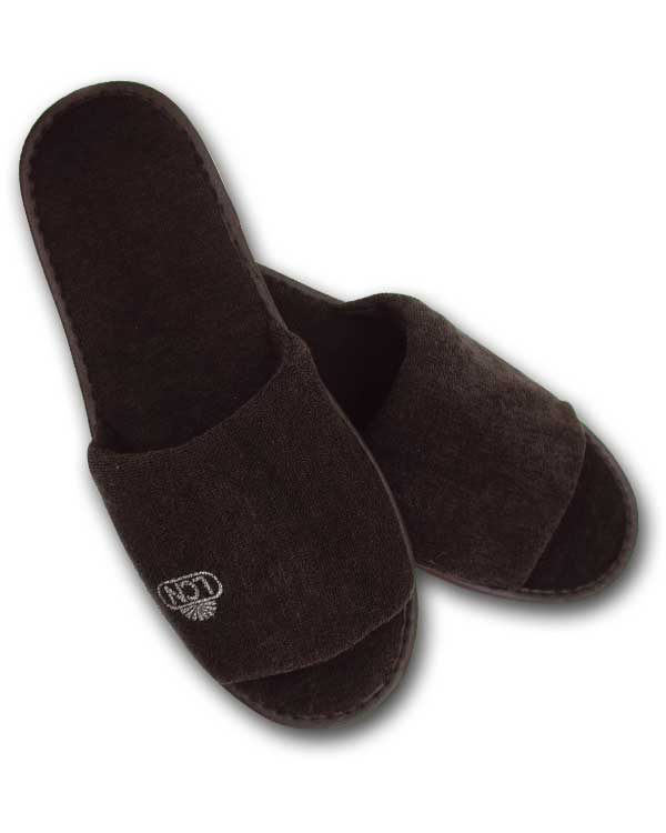 Terri slippers black with silver LCN logo, pair