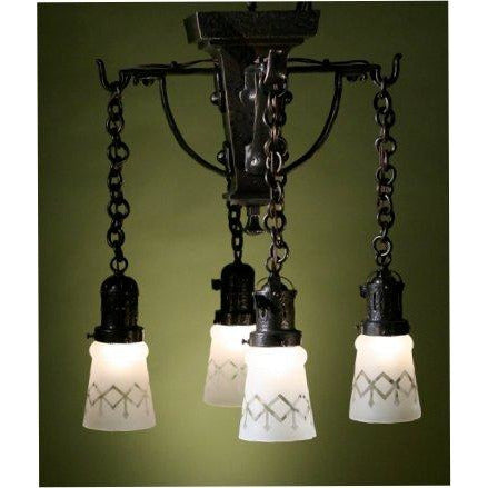 Hammered Close Ceiling Arts and Crafts 4 Light, Vintage Glass Shades  #1148 - Filament Vintage Lighting