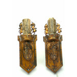 Pair of 1920s Tudor Sconces with Unicorns in Painted Bronze with Original Finish #2077