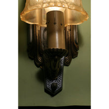 Load image into Gallery viewer, Pair Art Deco Sconce with Amber Shades by Riddle