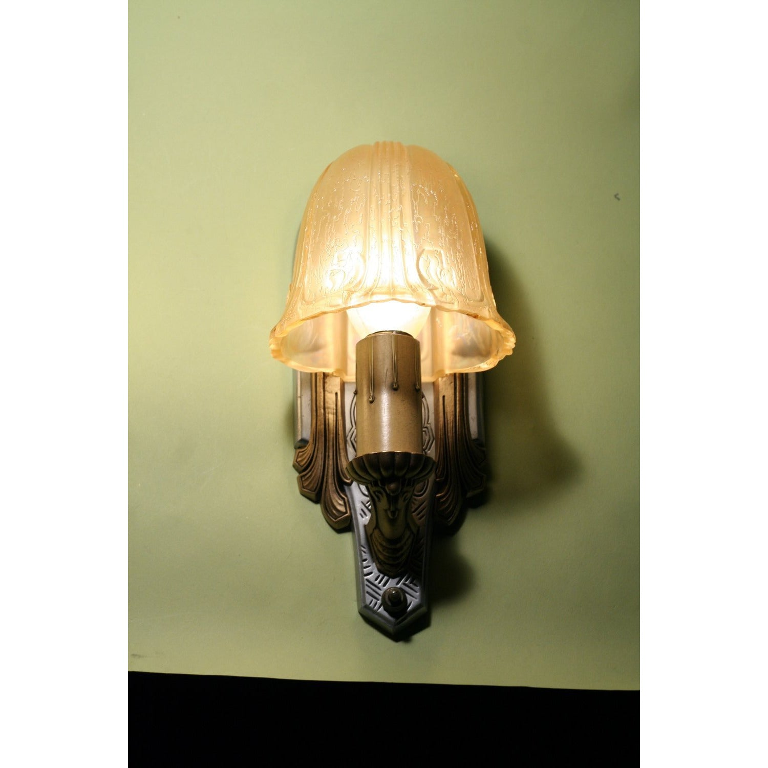 Pair Art Deco Sconce with Amber Shades by Riddle  #1193 - Filament Vintage Lighting