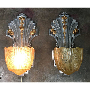 1752 Vintage Lincoln Art Deco Wall Sconces