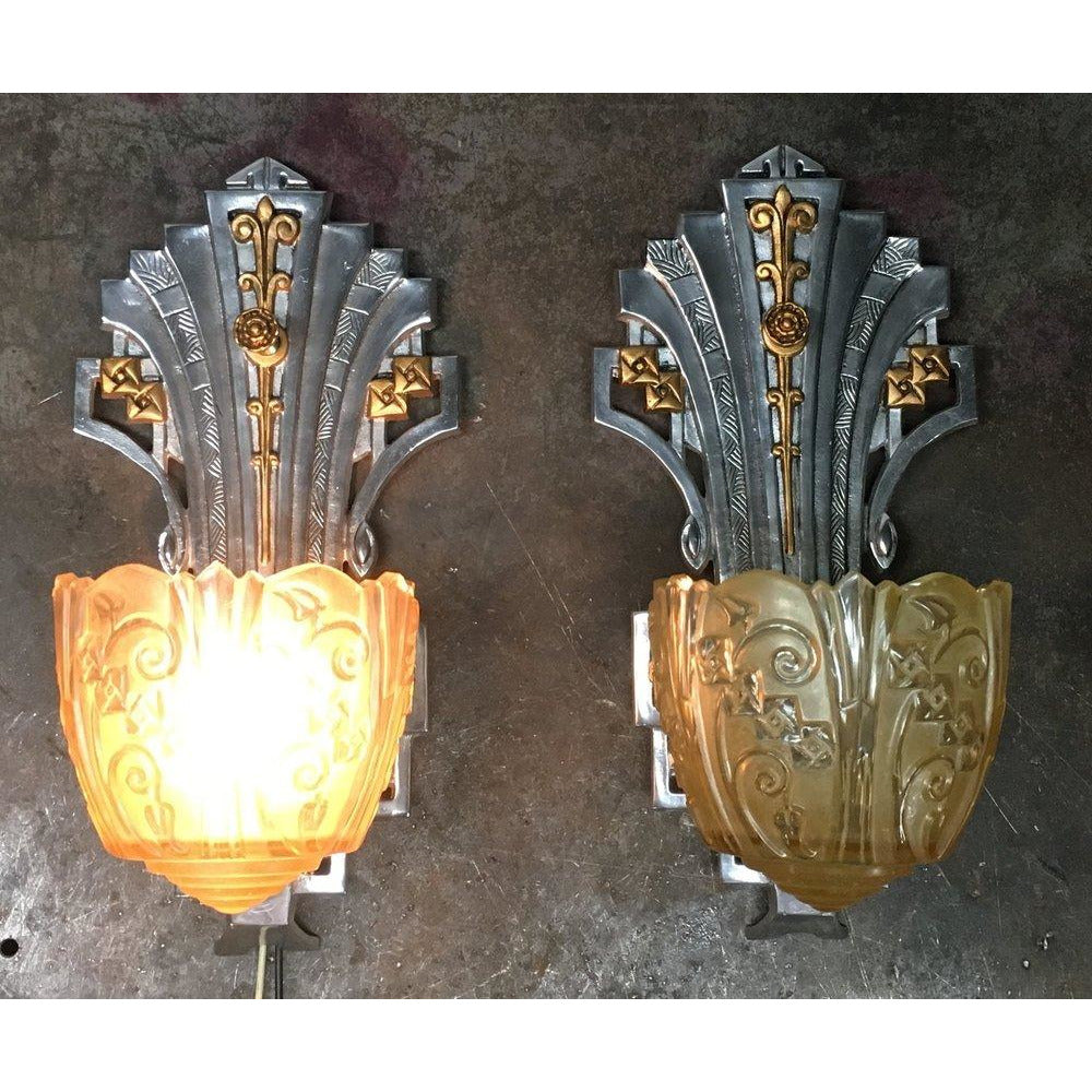 Vintage Lincoln Art Deco Wall Sconces  #1752