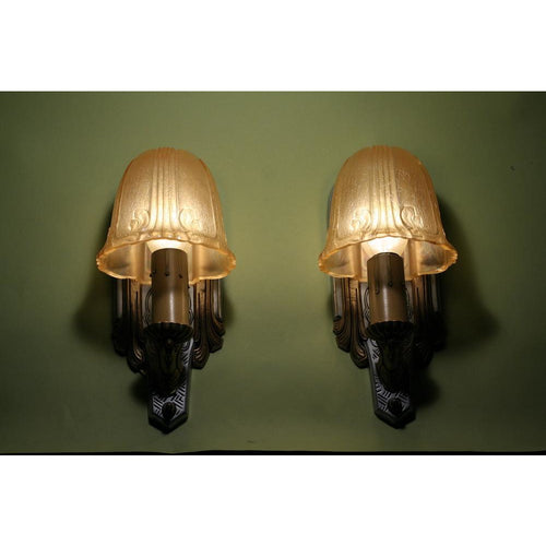 Pair Art Deco Sconce with Amber Shades by Riddle
