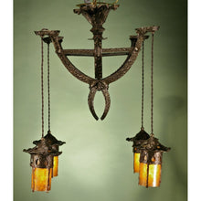 Load image into Gallery viewer, Hammered Antique Arts and Crafts Chandelier #11.120