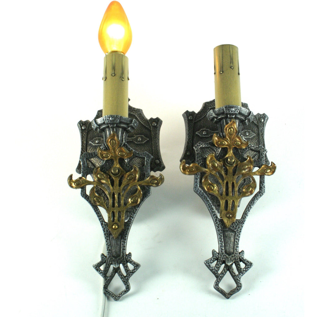 Pair MEP 1930s wall sconces Spanish Revival