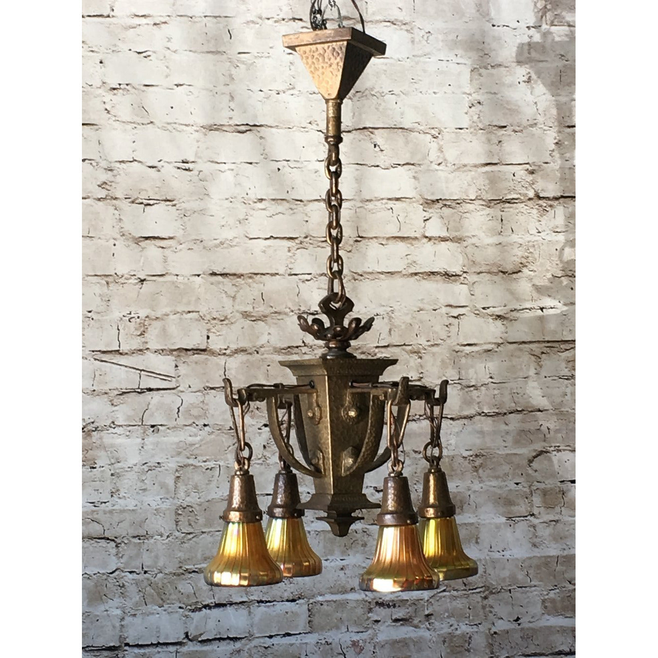 Hammered Arts and Crafts Chandelier with Original Finish #1838 - Filament Vintage Lighting