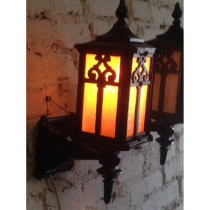 Pair 1920s Cast Iron Porch Sconces