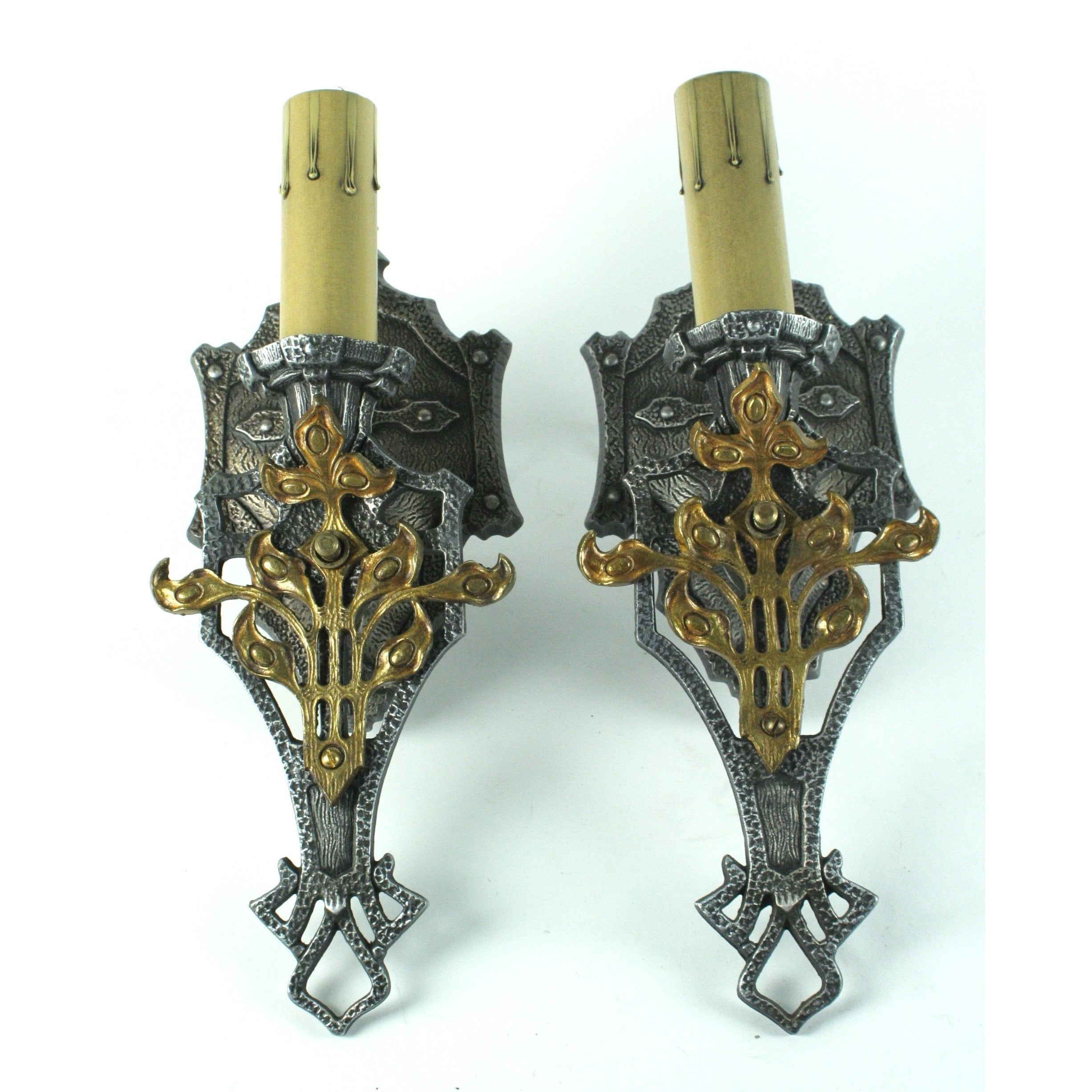 Pair MEP 1920s wall sconces Spanish Revival