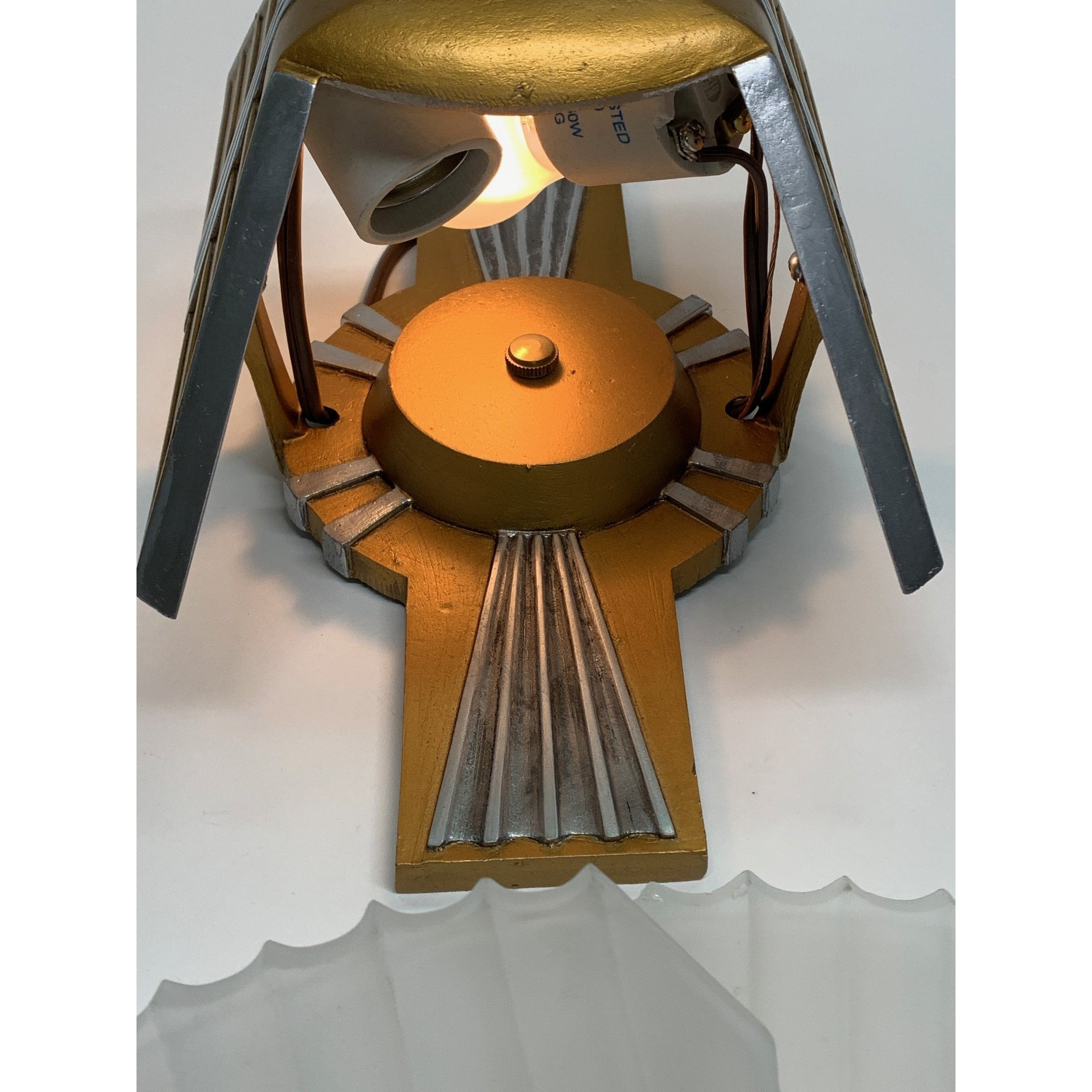 Art Deco Two-Light Flush Mount, PAIR Available #1912 - Filament Vintage Lighting