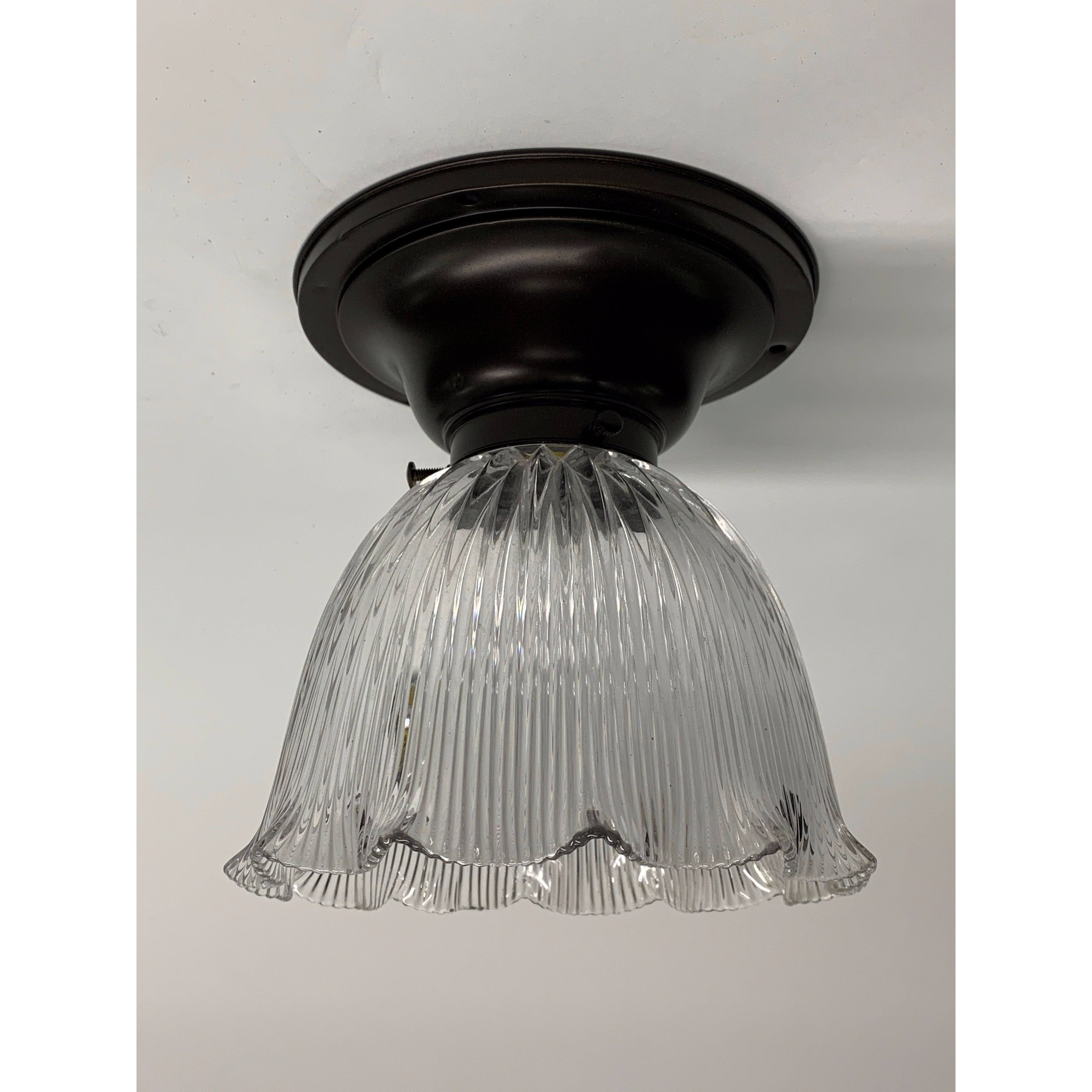 Small Light with Holophane Shade, ca 1910 #1915 - Filament Vintage Lighting
