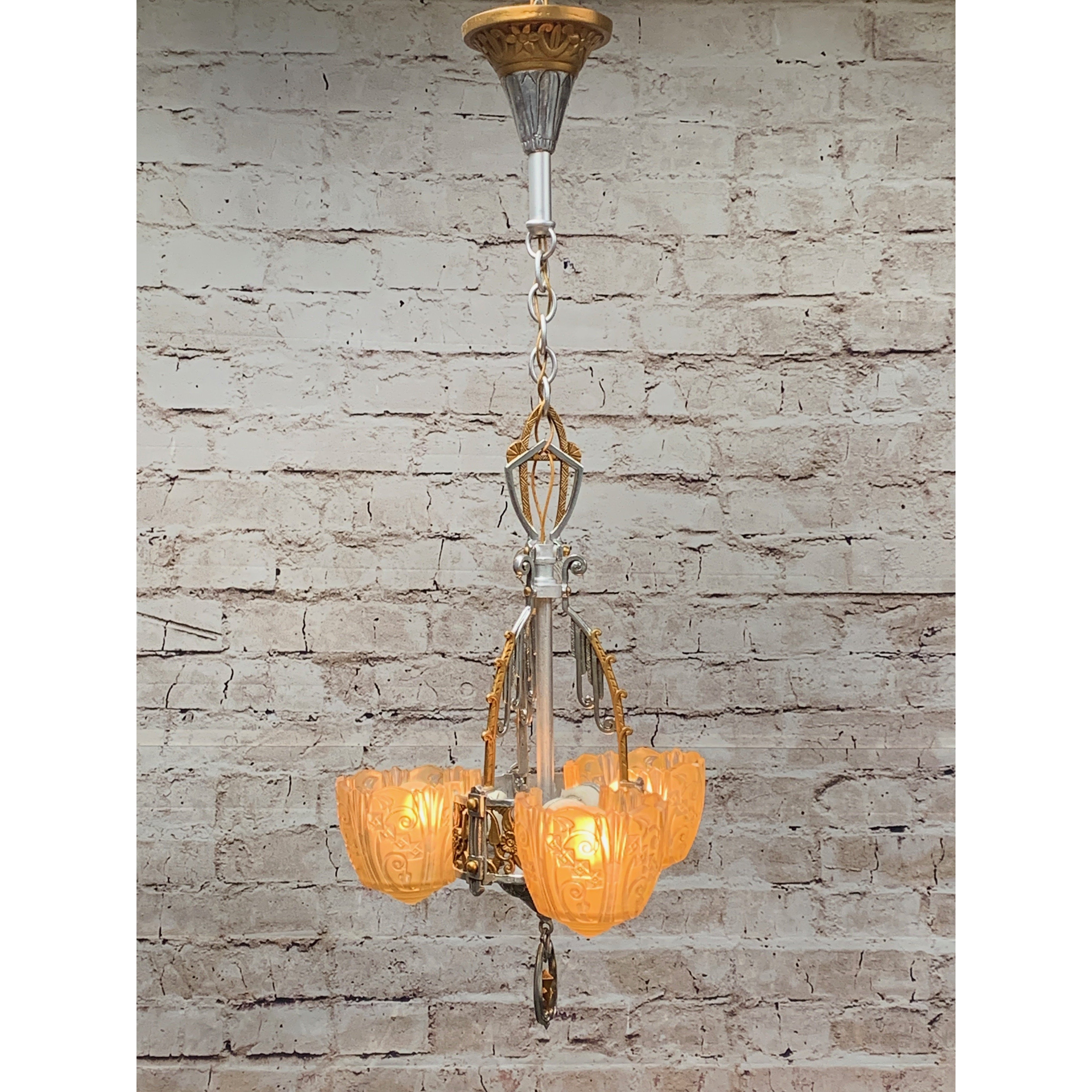 Polished 3 Light by Lincoln, Amber Shades #1924 - Filament Vintage Lighting