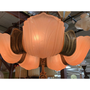 Ring shaped Gold and Pink Chandelier, Art Deco #1920 - Filament Vintage Lighting