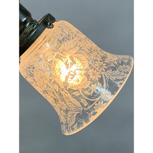 Petit 3-light with Etched Bell Shades, ca 1900