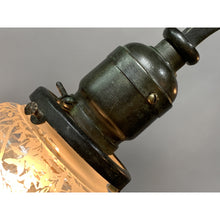 Load image into Gallery viewer, Petit 3-light with Etched Bell Shades, ca 1900