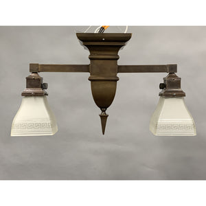 Arts and Crafts Two Light for Hallway, with Greek Key Shades #2002 - Filament Vintage Lighting