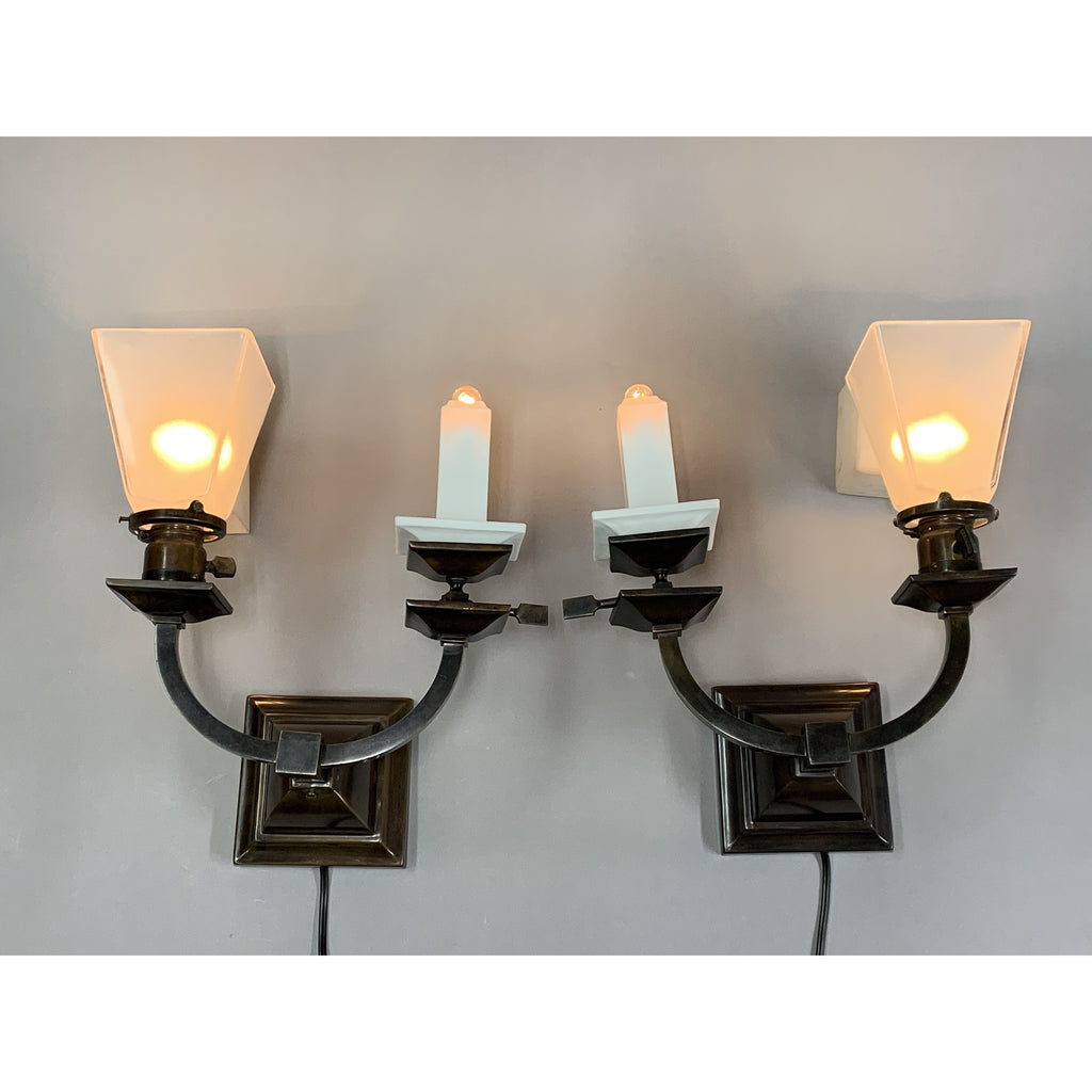Antique Gas and Electric Arts and Crafts Sconces, Restored.   #1516 - Filament Vintage Lighting