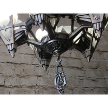Load image into Gallery viewer, 1930s Art Deco Chandelier with Glass Panels