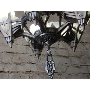 1930s Art Deco Chandelier with Glass Panels