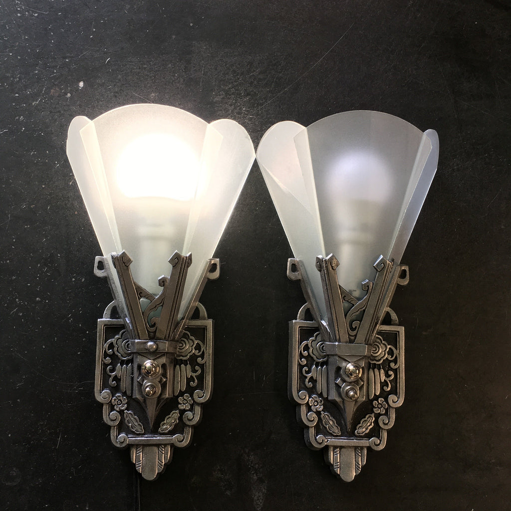 1930s Art Deco Wall Sconces with Flat Panel Glass - Filament Vintage Lighting