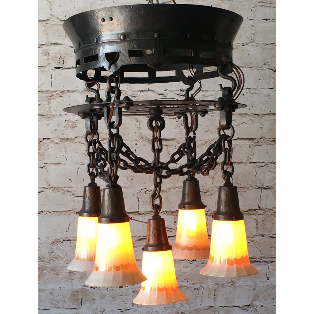 Stunning Arts and Crafts Hammered Chandelier with Quezal Shades #950 - Filament Vintage Lighting